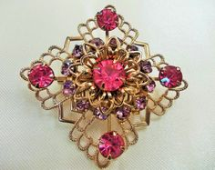 Vintage Tiered Star / Pin, Pink and Lavender Rhinestones Prong Set in Gold Tone Filigree