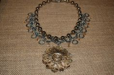 Upcycled dresser hardware Statement Necklace by Menono Designs.