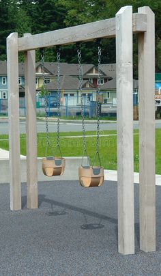 swing set plans Swings built for a small child at a residential play park. I like this idea for less invasive foot print in back yard but more permanent and not moveable Backyard Swings, Backyard Playground, Backyard For Kids, Backyard Landscaping, Backyard Ideas, Children Playground, Backyard Play Equipment, Playground Swing Set, Patio Decks