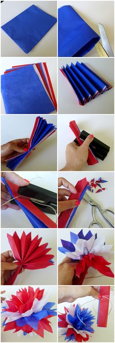 Red, White and Blue Pom Garland - Memorial Day - 4th of July - DIY patriotic party decor crafts by Yay for Handmade! www.yayforhandmade.com