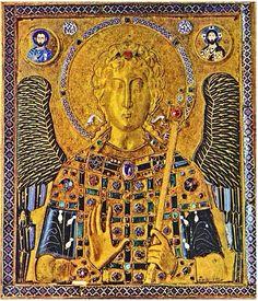 Archangel Michael. Gold and enamel Byzantine icon. 10c AD Treasury of St Mark's…