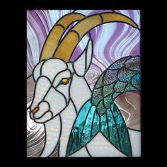 Stained glass patterns for all the signs of the zodiac. Capricorn, the goat. Printable zodiac stained glass patterns for sale. Instructions, materials list and photo included.