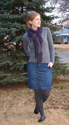 Another way to do the denim skirt in cold weather.