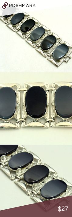 """Vintage statement bracelet-large grey fall jewelry Lovely lucite vintage bracelet...quite impressive , large statement bracelet.  Silvertone metal , two shades of grey lucite thermoset ovals . Bracelet approx 7 1/4"""" and almost 2"""" wide.  Designer signed Pam . Good condition , metal shiny , lucite good with fine light scratches. Great for fall .See other old jewelry listed.. J117 Jewelry Bracelets"""
