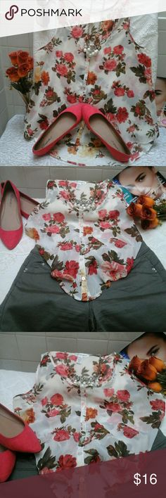 """👡Gorgeous Sheer Floral top👓 EUC, like new, 100% polyester, (High/low)  low-  23"""" long, long- 25"""" long, armpit to armpit 18 1/2"""", button down, perfect for a VERY HOT day👓👡, cream, red, arm green, pink, yellow Ambiance Apparel Tops Blouses"""