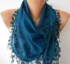 Teal Scarf   Cotton  Scarf   Cowl with Lace Edge    by fatwoman, $15.00