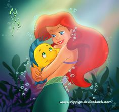 Ariel and Flounder by *nippy13