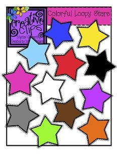 FREE Colorful Star Clipart from Krista Wallden's Creative Clips Clipart! Bright, colorful images perfect for teaching colors and classroom labels :) Personal and Commercial use with credit given.