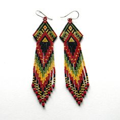 Ethnic style seed bead earrings   sterling silver by Anabel27shop,