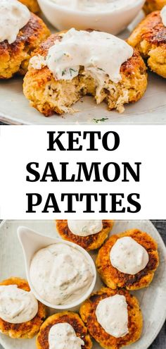 An easy and healthy recipe for crispy keto salmon patties served with a spicy dill-garlic sauce. You can use cooked salmon from canned or fresh, which is mixed with mayonnaise, egg, and almond flour. These simple salmon cakes are low carb and gluten free. Keto Foods, Salmón Keto, Paleo, Healthy Diet Recipes, Ketogenic Recipes, Low Carb Keto, Cooking Recipes, Vegetarian Keto, Cleaning Recipes