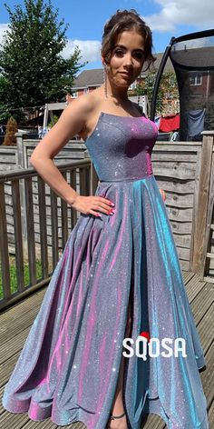 Strapless Purple Satin A-Line Long Sparkle Prom Dress with Slit – SQOSA # prom outfits Strapless Purple Satin A-Line Long Sparkle Prom Dress with Slit Senior Prom Dresses, Pretty Prom Dresses, Strapless Prom Dresses, Prom Outfits, A Line Prom Dresses, Ball Dresses, Ball Gowns, Formal Dresses, Sparkly Prom Dresses