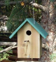 $2 birdhouse made from cedar fence picket.  Cool.