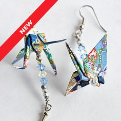 Blue Paper Earrings,Handmade Paper Jewellery,Origami Art Jewelry,Origami Anniversary Gifts for Origami Lovers,Origami Birthday Present
