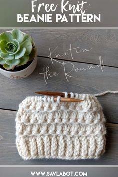 Beanie Knitting Patterns Free, Beanie Pattern Free, Baby Hat Patterns, Baby Hats Knitting, Loom Knitting, Free Knitting, Knitted Hats, Free Pattern, Knitted Baby Beanies