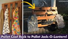 Dual Purpose! Coat Rack and Jack-O-Lantern Decor from old Wood Pallet #DIY