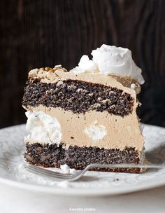 Traditional Polish Poppy Seed Layer Cake w/ Meringue and Mocha Frosting