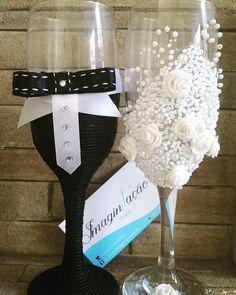 Taças decoradas para casamento (Par)