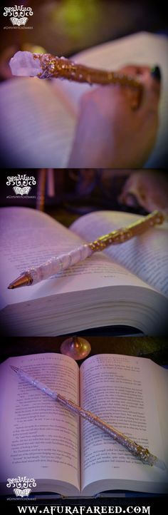 """Wizard's Writing Wand No.17  12"""" pearly white and gold willow branch and genuine aura quartz crystal wand. Handcrafted by GypsyWytch Diaries $22.22"""