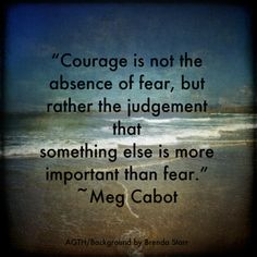 """Courage is not the absence of fear, but rather the judgment that something else is more important than fear."""