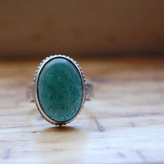 Aventurine and Sterling Silver Ring, by LovestruckSoul at Etsy