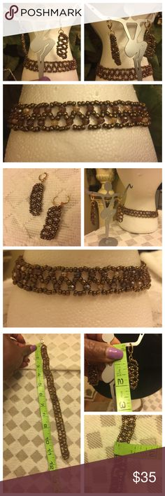 """""""Simply Gorgeous"""" Handmade beaded choker pair """"Simply Gorgeous"""" Handmade beaded choker and matching earrings. Color is brown. New and Never been used. See measurements in photos attached here. Gold hardware. No hold and no trade. Handmade Jewelry Necklaces"""