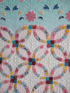 "close up, ""Memories"" by  Sumiko Minei who authored the book, Foundation-Pieced Double Wedding Ring Quilts.  2013 AQS Show, Paducah KY,  photo by Cupcakes 'n Daisies"