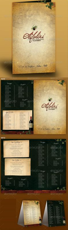 MENU RESTAURANT LOLIVIER. Get it customized as per your needs in only $12.00 http://www.devloopers.com/design/food-menu/desserts-menu/menu-restaurant-lolivier