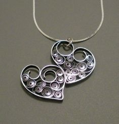 Two Hearts As One - Quilled Necklace by Ann from All Things Paper #jewelry #papercraft