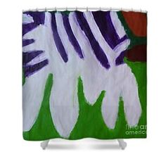 Patrick Francis Designer Shower Curtain featuring the painting Zebra by Patrick Francis