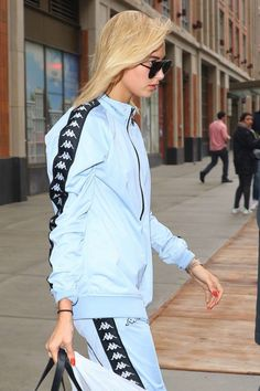 Hailey Baldwin in Blue sweat suit out in New York