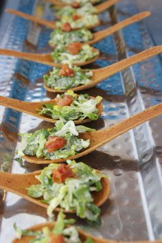 Caesar Salad Hors d'oeuvres on Edible Cracker Spoons topped with Pancetta www.trianglecatering.com #trianglefoodies