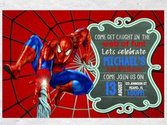 14 Best Spiderman Birthday Invitations Images Spider Man Birthday