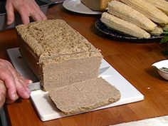 Scrapple recipe from FoodNation with Bobby Flay via Food Network Barefoot Contessa, Food Network Recipes, Food Processor Recipes, Chopped Liver, Other Recipes, Recipe Using, Recipe Box, Back Home, Breakfast Recipes