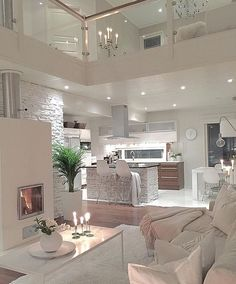 Try To Decorating With Luxury White Living Room Design 01 - Home Decor Design Dream House Interior, Luxury Homes Dream Houses, Dream Home Design, Modern House Design, Interior Design Living Room, Living Room Designs, Modern Interior, Modern Luxury, Kitchen Interior