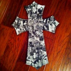 Mod podge picture collage cross!!