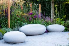 Pebble seats by sculpter Ben Barrell in the gold medal winning show garden for Cancer Research UK by Tom Simpson Design Landscape Design, Garden Design, Tom Simpson, Cancer Research Uk, Design Awards, Toms, Beautiful, Lawn And Garden, Landscape Designs