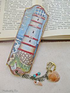 Marcapaginas madera mar faro, marcapaginas madera, marcapaginas faro, marcapaginas nautico, marcapaginas, accesorio libro, regalo lectores