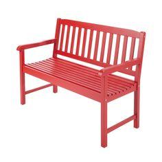 Panca rossa da giardino in acacia 2 posti L 120 cm Coquelicot