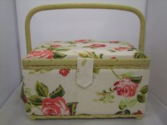 Sewing #Storage Box/ #Craft & #Hobby #Rose Design Fabric Covered Storage #Box available from Lenarow Limited's ebay store or Instore at Wools and Crafts 169 Blackstock Rd London N4 2JS @finsbury_pk tel 02073591274 #sewing