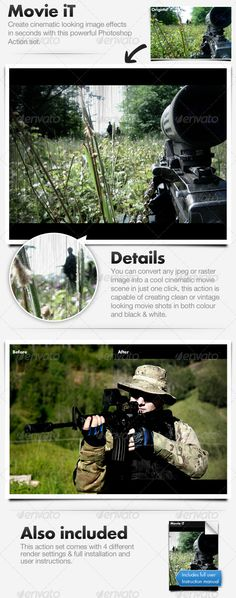 Movie iT - Convert Image To Movie: Photo Effects Photoshop created by cazoobi. Effects Photoshop, Photoshop Actions, Movie Shots, Buy Movies, Photoshop Photos, Any Images, Photo Effects, Double Exposure, Vintage Images