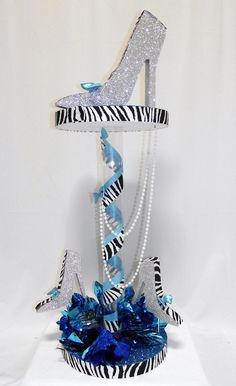 Fancy Heels Centerpiece - DIY Kit in your color choices. Great for Bat Mitzvah, Sweet 16 and Birthday parties.  http://www.awesomeevent.com/Fancy-Heels-Centerpiece-P3593.aspx