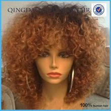 Short afro curly full lace wig ombre color full lace bob wig with bangs high density unprocessed hair kinky curly wig
