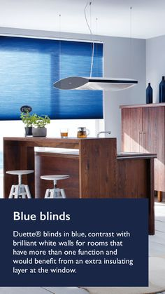 This kitchen room features a navy Duette blind that allows the natural light to flow into the room creating a softer look. The Blue injects some colour and Instulating properties. Take a look at navy inspiration.