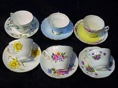 6 ANTIQUE VTG ENGLISH BONE CHINA TEA CUP $45.99