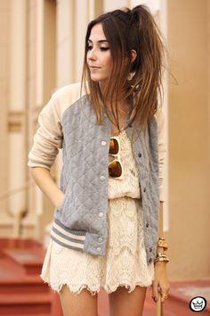 FashionCoolture - Gap sporty jacket and lace dress