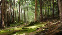 'Pine Forest' by ~MittMac http://mittmac.deviantart.com/art/Pine-forest-study-287394627