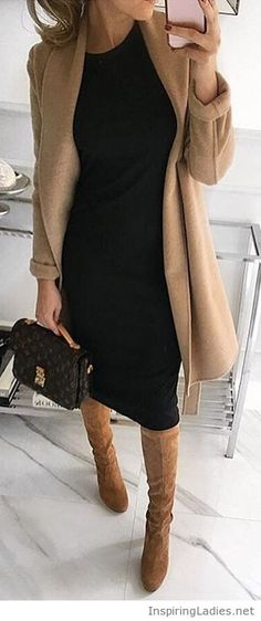 Black dress, nude coat and boots | Inspiring Ladies
