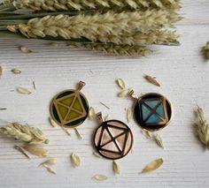 geometry pendants. Gold, enamel