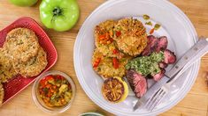 Rachael's Sliced Steak with Salsa Verde and Italian Fried Green Tomatoes Recipe
