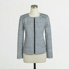 On Trend cropped jacket. Gorgeous tapestry in hues of blues and cream.  Fully zipped front,  zippers on sleeves. Perfect jacket. Sold out everywhere. J. Crew Jackets & Coats